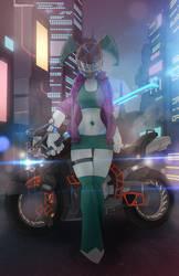Cyberfunk samurai Jenny by ShadowolfZ