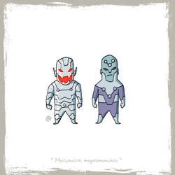 Little Friends - Ultron and Brainiac by darrenrawlings