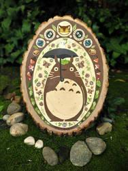 Totoro Painting on Wood by AquaJ