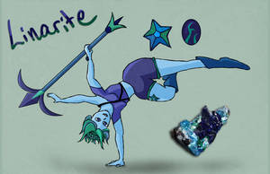 Turquoise and Celestite fusion: Linarite by WaterLily-Gems