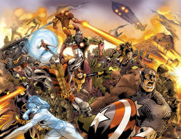 X-Men-Avengers 2 Page Spread by UdonCrew