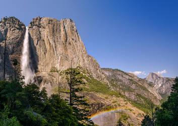 Yosemite Waterfall Rainbow Pano by do7slash