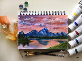 Mountain Sunset by AmanaArt