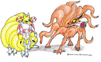 Kyuubi vs. Kyuubimon by neosuicune