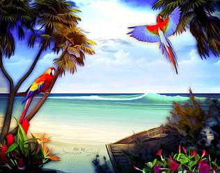 Paradise Beach - Version 2 by JassysART