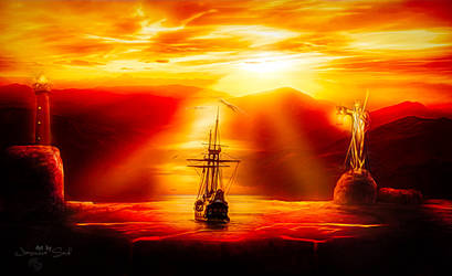 Sailing in the Sunset by JassysART