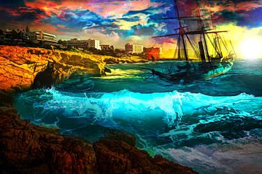 Turbulent Sea - Wallpaper by JassysART