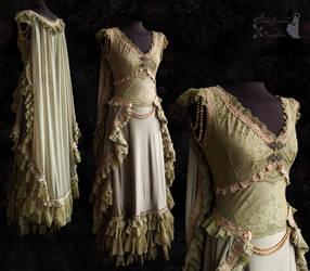 Gown Regina, Art Nouveau, olive, Somnia Romantica by SomniaRomantica