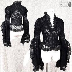 Black lace blouse pleated, Somnia Romantica by SomniaRomantica