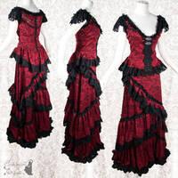 red black lace dress, victorian art nouveau by SomniaRomantica