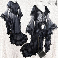 dark grey cloaked robe with lots of lace by SomniaRomantica