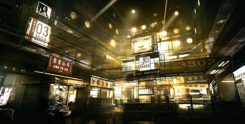 Capsule Hotel Agora Deus Ex 3 by Gryphart