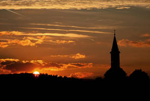 sunset and church by pauljavor