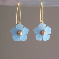 Blue Flower V-Hook Earrings by lulabug