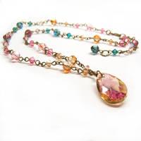 Jewel Toned Drop Necklace by lulabug