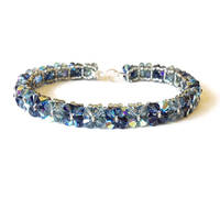 Denim Blue Swarovski Crystal Tennis Bracelet by lulabug
