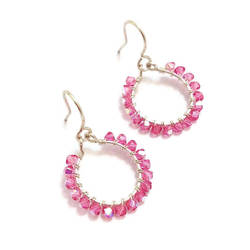 Pink Swarovski Crystal Loop Earrings by lulabug
