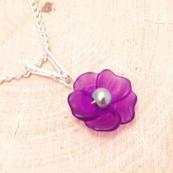 Purple Flower Necklace by lulabug