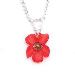 Red Orange Orchid Pendant Necklace by lulabug