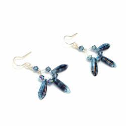 Blue-Gray and Black Dagger Loop Earrings by lulabug