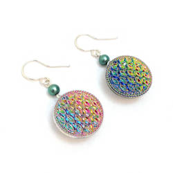 Round Iridescent Button Earrings by lulabug