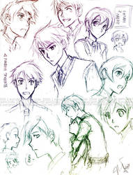 Ouran Sketches - HikaruxHaruhi by gem2niki