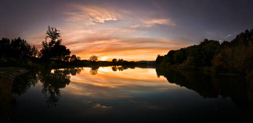 Sunset at lake by BandasPhoto