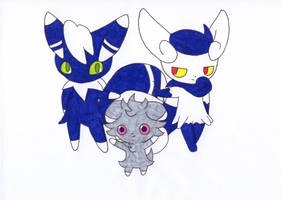 Espurr and Meowstic by AndkeAnka