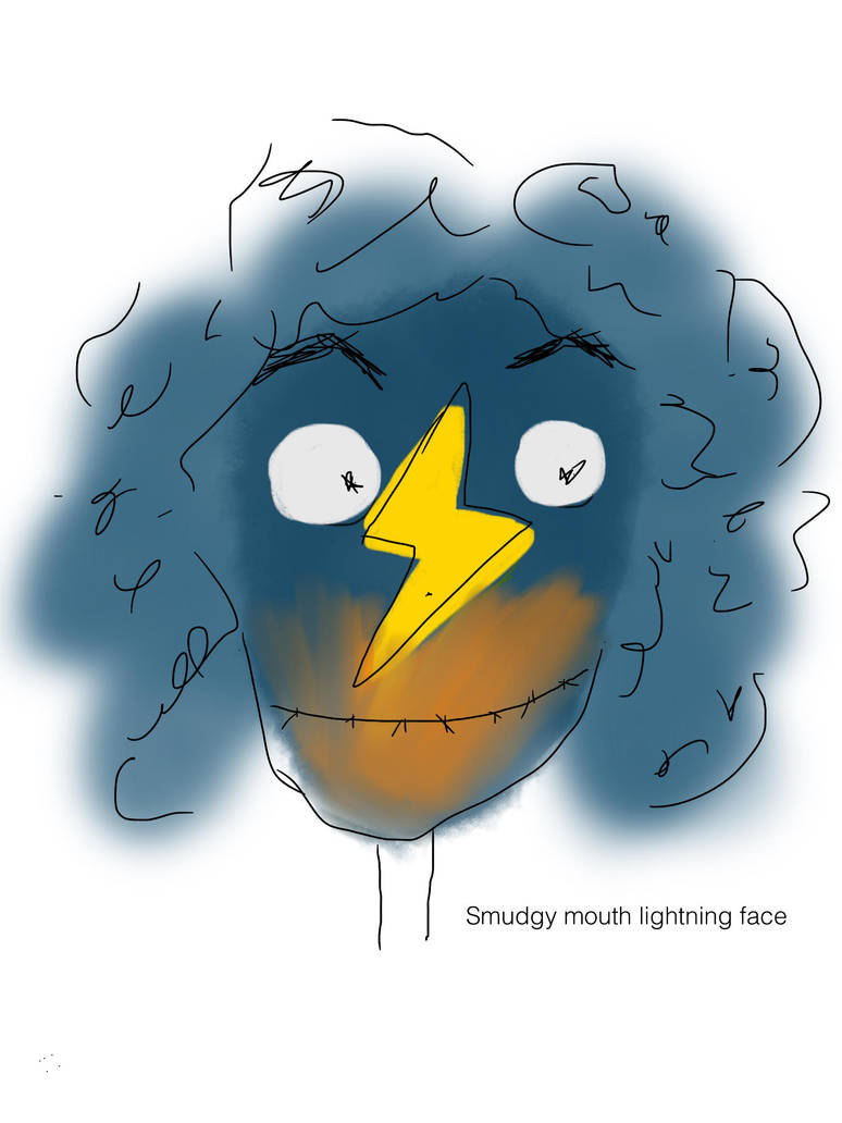 Smudgy mouth lightning face  by lizziebee29