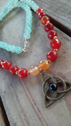 Fire Agate and Jade Celtic Knottwork Necklace by WyckedDreamsDesigns