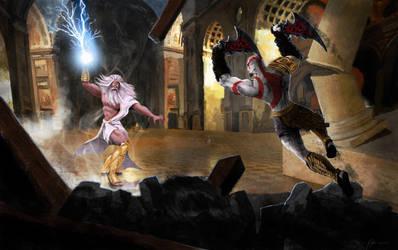 God of War 3 Zevs vs. Kratos by atma33