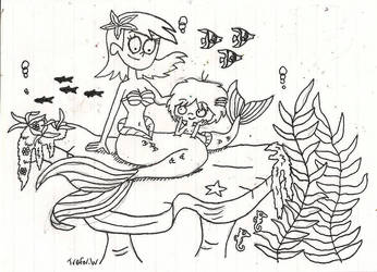 Inktober: Undersea Frankie and Mac by TrefRex