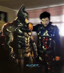 Arkham Knight and Batman by yuga