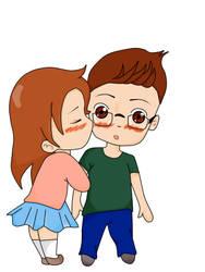 Chibi couple kiss by Karoriana
