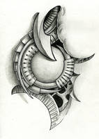 biomech tattoo flash by Ignitron
