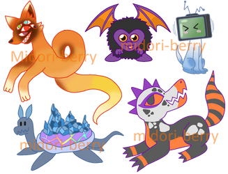Monster Adopts 3/5 OPEN AND REDUCED by Midori-berry