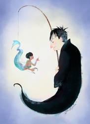 Penguin and Fish by Myrrha-Silvenia