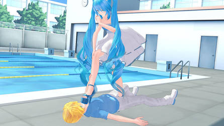 MMD trampling by the pool by Ging2011