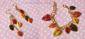 Fall Leaf Bracelet and Earrings by CantankerousCupcake