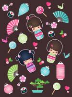 kokeshi Cuties by minercia
