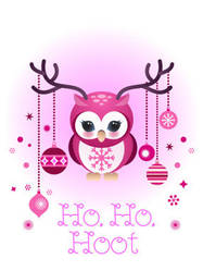 Owl Holiday card 2 by minercia