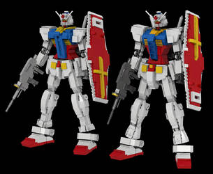 Lego Gundam Version 1 and 2 by mithrylaltaire