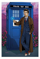 10th Doctor and TARDIS by KellyYates