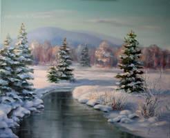 Winter landscape by Lidmar