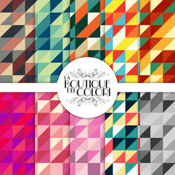 Retro Triangles Digital Paper Pack by KaipheArt