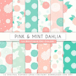 Pink and Mint Dahlias Digital Paper by KaipheArt