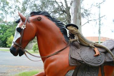 Lizard riding a horse 1 by animel