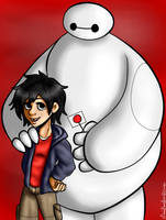 Hiro and Baymax by xBooxBooxBear