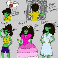 Dinner Date Outfit Dilemma by Goblin-Queenie