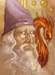 Dumbledore and Fawkes by Linnpuzzle